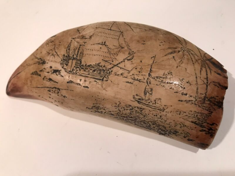 """SCRIMSHAW RESIN FAUX REPLICA WHALE'S TOOTH w/ Finely Detailed Ship Image 5.5"""""""