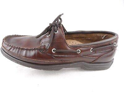 Sebago Docksides Brown Leather Lace Moc Toe Boat 2 Eyelet Shoes Loafer Men