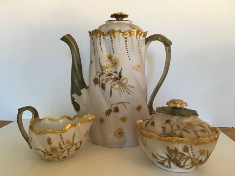 antique Limoges chocolate /coffee set with sugar & creamer