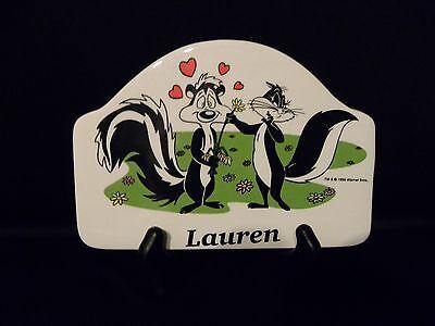 Looney Tunes- Pepe le Pew & Penelope Pussycat- Ceramic Plaque with Name Ceramic Name Plaque