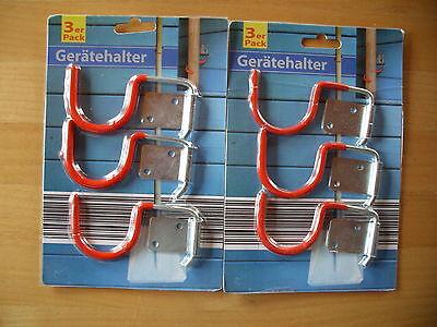 6x Gerätehalter Gerätehaken Gartengerätehalter Werkzeughaken Halter für Stiel