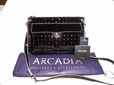 - Arcadia Italian Front Flap Pocket Large Crossbody Black Patent + White Trim NWT