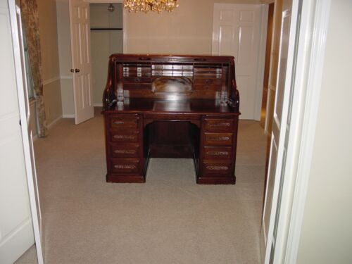 Antique Mahogany Roll Top Desk--