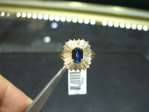 Fine 14 Karat Gold Ballerina Ring Ceylon Sapphire Baguette Diamonds Hand Made!!!