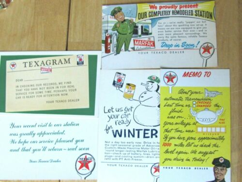 TEXACO DEALER CAR SERVICE GAS STATION 5 UNUSED POSTCARDS TRANSMISSION , WINTER