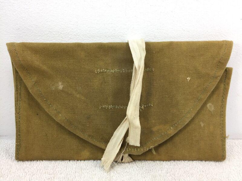 """Canadian WW2 Wash Roll pouch bag Broad Arrow webbed canvas folding 10"""""""