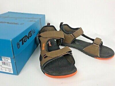 TEVA Junior Tanzium Sandals Sz 5 Chocolate Brown/Orange Kid's -