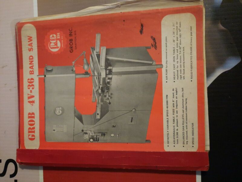 "Grob 36"" Metal Band Saw Bandsaw with Welder Catalog"