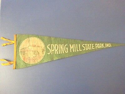 1950's Spring Mill State Park, Indiana Pennant, Mill Wheel