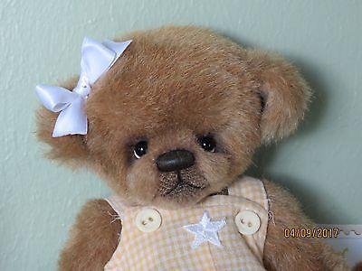OOAK Artist Mohair Bear With Vintage Style Romper and COA