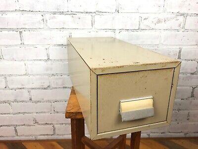 Vintage Metal Index Large Card Holder Cabinet File Box Single Drawer