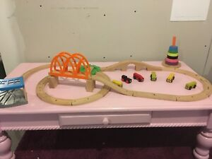 Homemade IKEA train set on pink coffee table