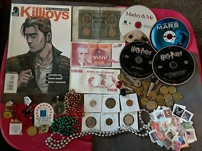 Huge Junk Drawer Collectibles Lot#14, COMIC, COINS, TOKENS, KEYS, STAMP, CURRENCY