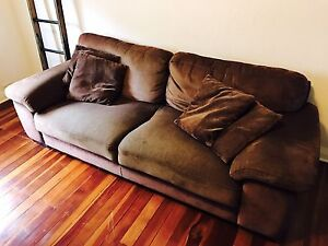 3 seater brown couch sofa Enmore Marrickville Area Preview