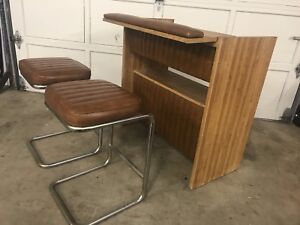 Vintage Retro Bar w/ Matching Chrome Cantilevered Stools
