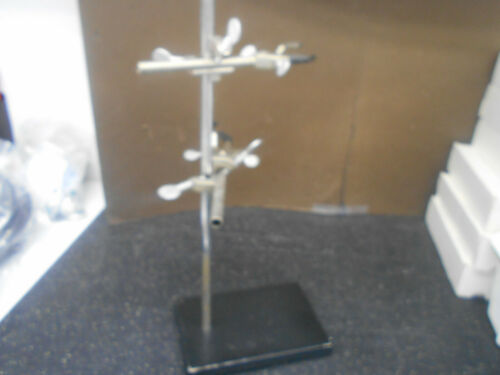 """FISHER LAB  9"""" STAND 23.25"""" POST  W/2 3 PRONG BURET CLAMPS"""