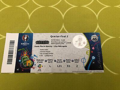 ticket Euro 2016 France : 1/4 Finale Belgique Pays De Galles / Belgium - Wales
