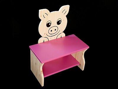 Kinderbank Schwein rosa Schuhbank Sitzbank Kinder Holzbank Kindersitzbank 50 cm