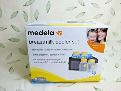 Medela Breastmilk Cooler Set w/4 5 oz Bottles, Lids, Cooler, Ice Pack