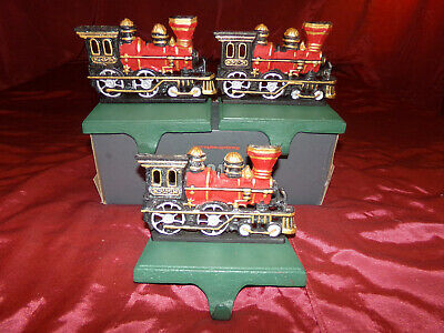 RARE ,SET of (3) Vintage VERY Heavy Cast Iron Locomotive/Train Stocking Hangers