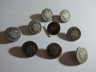 Knöpfe Trachten Metall silber altsilber w Münze aus Österreich 1859 1/4 FL antik (1 4 Silber Münze)