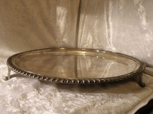 ANTIQUE 1894 STERLING SILVER FOOTED SERVING TRAY SALVER 845 grams (29.8 ounces)