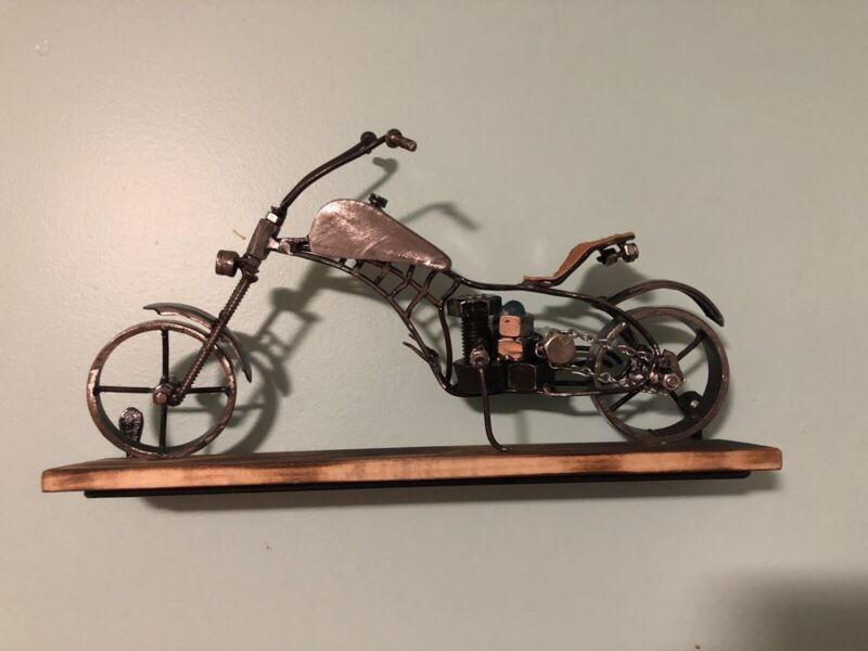 Metal Motorcycle Sculpture Handmade Iron Motorbike Model Statue Collectible Art