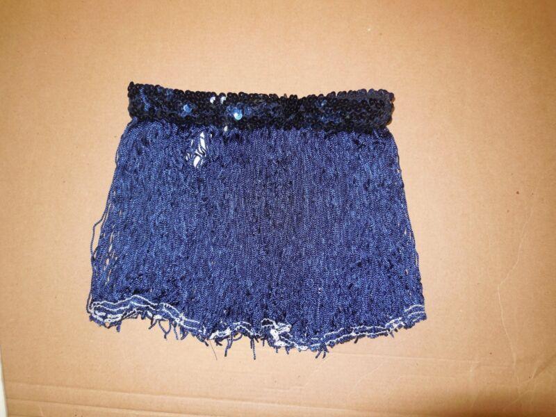 "NWT Dance Costume Navy Fringe Skirt sequin waist 12"" Medium child"