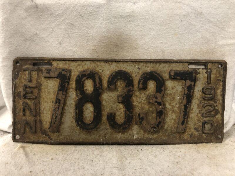 Vintage 1920 Tennessee License Plate