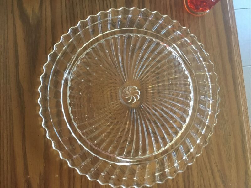 """Vintage Pressed Swirl Glass Footed Cake Plate 11.5"""""""