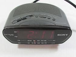 Sony Dream Machine Black ICF-C211 AM/FM Clock Radio Large Red LED Time