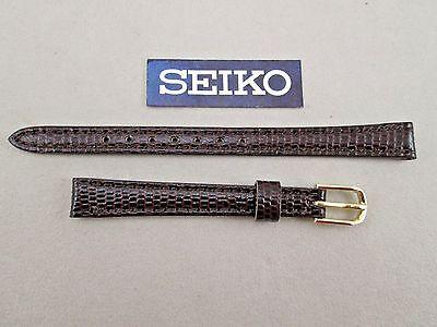 Seiko 10mm lug size brown genuine leather watch band strap lizard grain Brown Genuine Lizard Strap