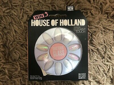 House of Holland by Elegant Touch - Shattered Glass - 24 Nails 10 Sizes - BNIB