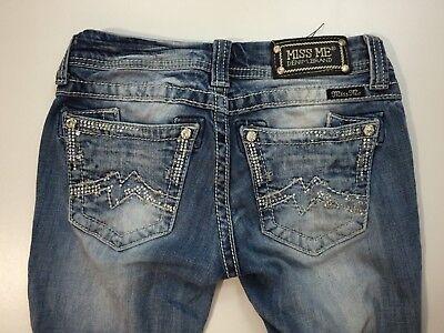 Rhinestone Back Pocket Jean (MISS ME Womens Sz 25 Medium Wash Straight Leg Rhinestone Back Pocket Denim)