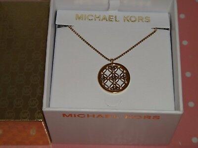 Michael Kors Women's Heritage MK Monogram Gold Necklace Crystals MKJ4284710 +BOX