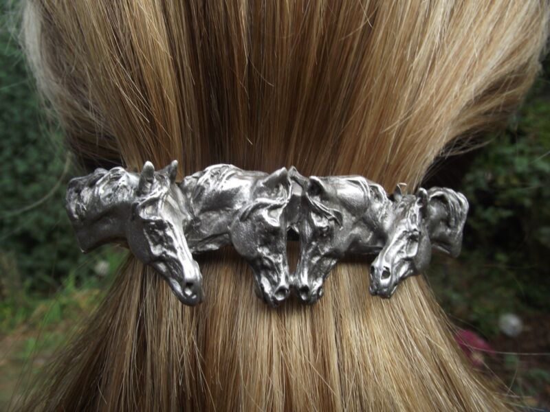 HORSE JEWELRY scarf clip barrette Pewter four horses Direct From Artist!