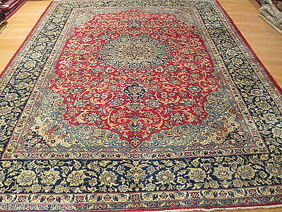 10x12 ESTATE Persian MUSEUM Isfahan Ca. 1940 Handmade-knotted Wool Rug 581366