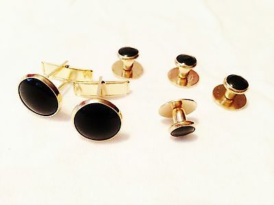 New Black Gold tuxedo cufflinks studs tux cuff links 2 cuff links 4 studs - Gold Tux