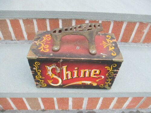 "Shoe Shine Box Vintage Wood & Metal "" 5 Cent SHINE"""