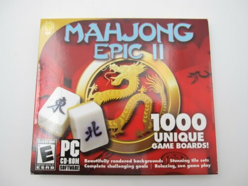 New Sealed Mahjon Epic II 1000 Unique Game Boards PC CD Rom Game (Rated E)