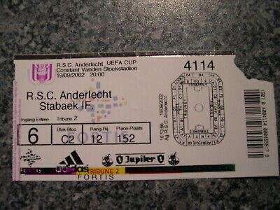 Ticket: Anderlecht - Stabaek UEFA (19-9-02)