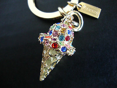 Coach 3D Ice Cream Cone Key Fob Gold Multi Pave Crystal Key Ring Charm NWT ()