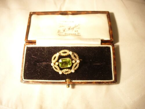 Seed pearl and peridot antique brooch