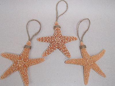 3 pc Starfish Beach Ornament Set - Christmas Tree Decor Coastal Sea Life Orange ()