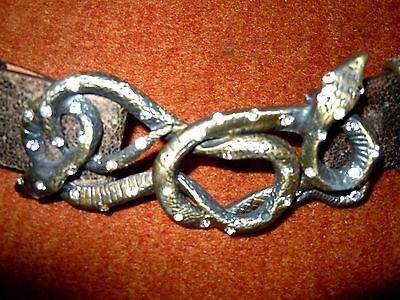 Seltener wunderschöner Gürtel Schlangenbuckle aus Vollmetall  Messing m.Strass