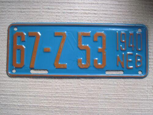 Vintage 1940 Nebraska Motor Cycle license plate. Double stamped.