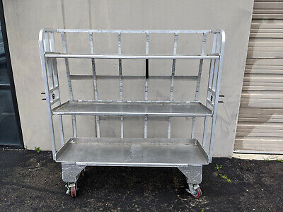 Aluminum Food Meat Dairy Cart Truck Casters Folding Shelf - Mobile Rack Shelving