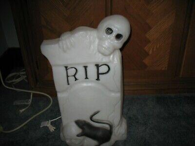 """Vtg Halloween 22"""" RIP Skeleton Rat Gravestone Lighted Blow Mold"""