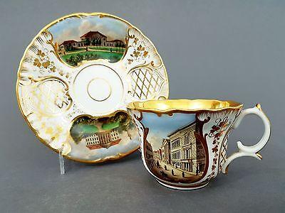 Biedermeier Verduten Tasse mit 4 Ansichten Hannover, Mitte 19. Jahrhundert