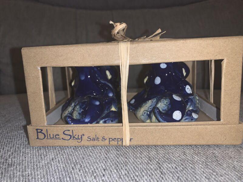 Blue Sky Clayworks Ceramic BLUE OCTOPUS SALT & PEPPER SHAKERS SET NIB